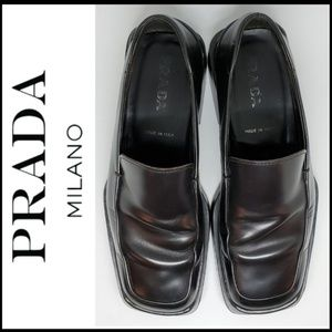 PRADA Men's SQUARE TOE Black Leather Loafers 9